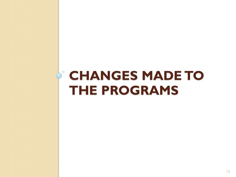 CHANGES MADE TO THE PROGRAMS 13