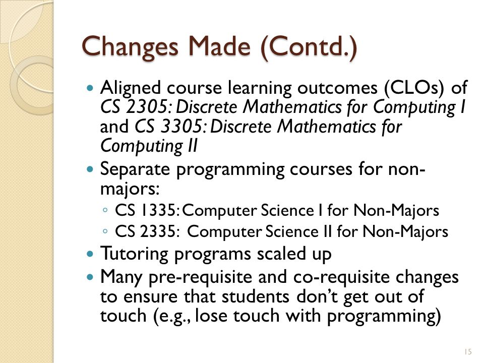 Changes Made (Contd.) Aligned course learning outcomes (CLOs) of CS 2305: Discrete Mathematics for Computing I and CS 3305: Discrete Mathematics for C