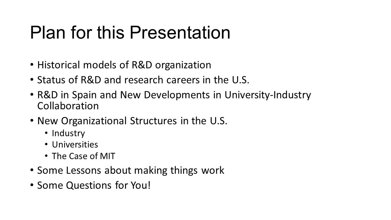 So, in the case of MIT, a multifaceted program of industry interface A search engine /information clearinghouse for research in progress A corporate membership program that includes client-oriented services An well-staffed office of liaison to industry A technology transfer office An internal innoivation development fund
