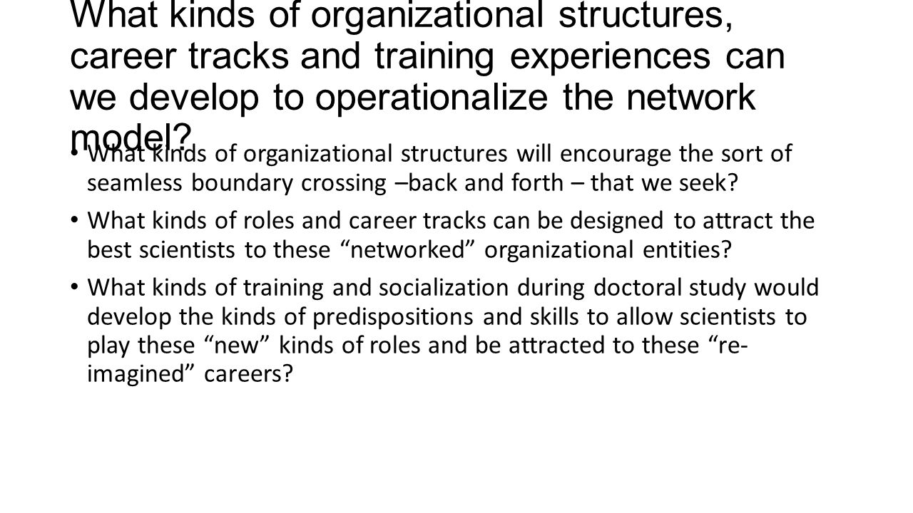 What motivates faculty and what sustains their collaborative efforts They are working on projects that matter to them, the build on previous work or relationships [grassroots] They see the clear individual career benefits, esp in terms of contributing to future productivity There is clear departmental (and broader institutional) involvement and support There is considerable flexibility in project design and management ( responsive to unanticipated needs) Graduate students are involved; and