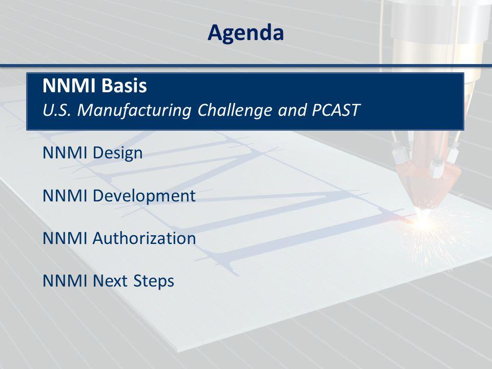 Agenda NNMI Basis NNMI Design NNMI Development Pilot Institutes by Administrative Actions NNMI Authorization NNMI Next Steps