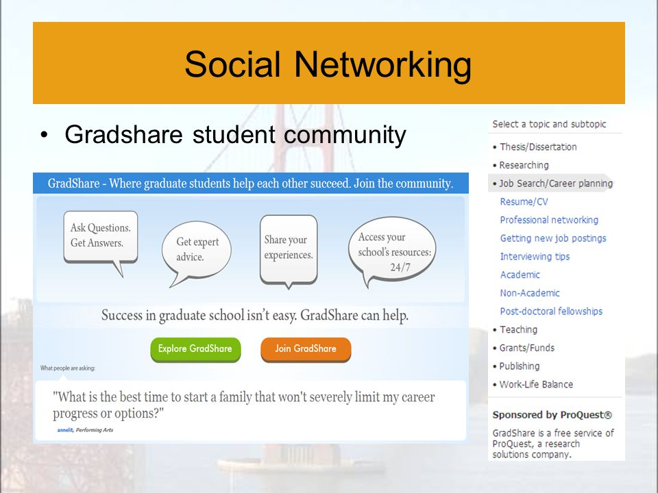 Social Networking Gradshare student community Social Networking