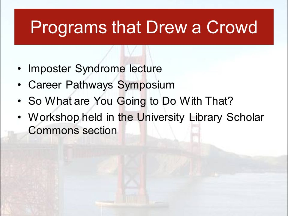 Programs that Drew a Crowd Imposter Syndrome lecture Career Pathways Symposium So What are You Going to Do With That? Workshop held in the University