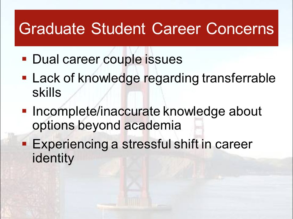  Dual career couple issues  Lack of knowledge regarding transferrable skills  Incomplete/inaccurate knowledge about options beyond academia  Experiencing a stressful shift in career identity Graduate Student Career Concerns