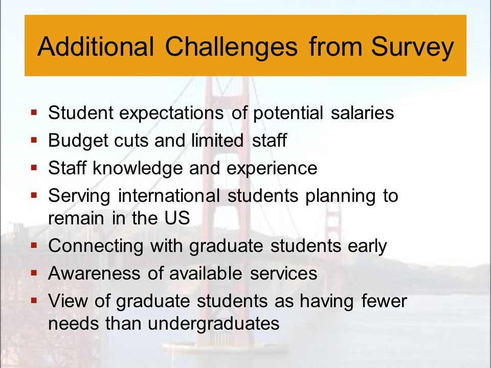 Additional Challenges from Survey  Student expectations of potential salaries  Budget cuts and limited staff  Staff knowledge and experience  Serv