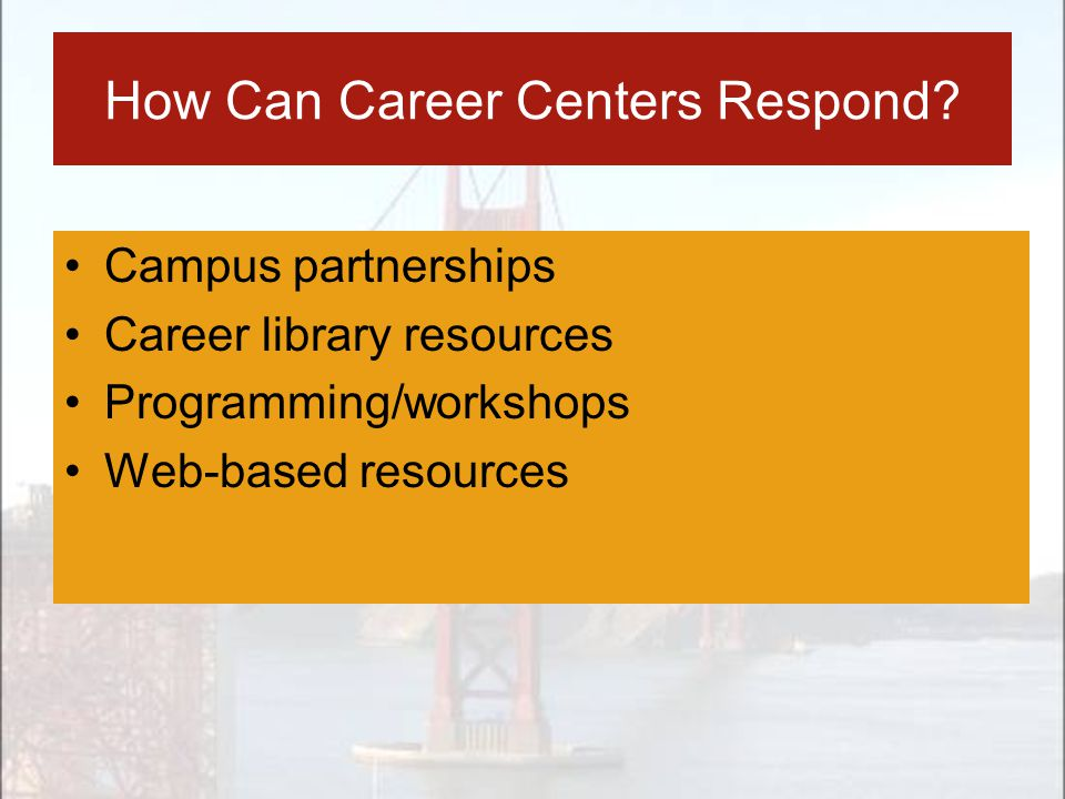 How Can Career Centers Respond? Campus partnerships Career library resources Programming/workshops Web-based resources