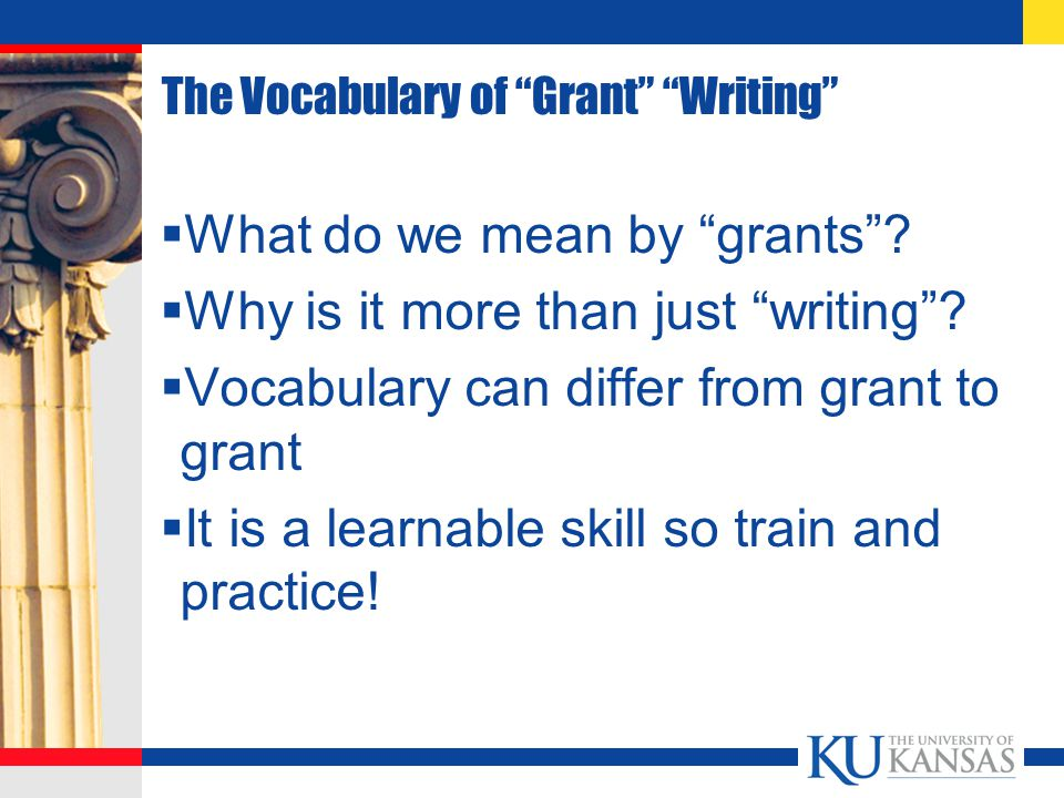 The Vocabulary of Grant Writing  What do we mean by grants .
