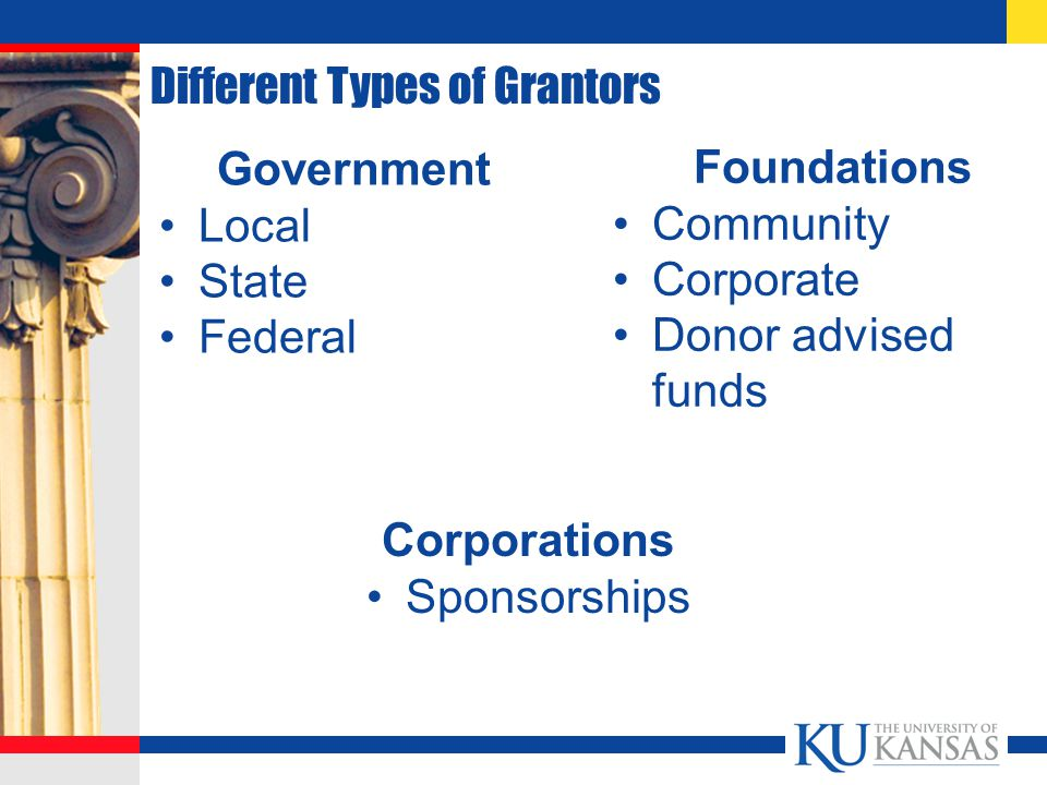 Different Types of Grantors Government Local State Federal Foundations Community Corporate Donor advised funds Corporations Sponsorships