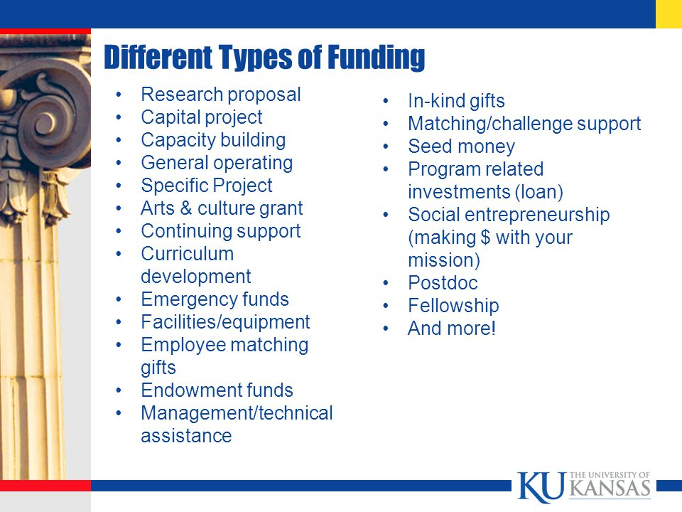 Different Types of Funding Research proposal Capital project Capacity building General operating Specific Project Arts & culture grant Continuing support Curriculum development Emergency funds Facilities/equipment Employee matching gifts Endowment funds Management/technical assistance In-kind gifts Matching/challenge support Seed money Program related investments (loan) Social entrepreneurship (making $ with your mission) Postdoc Fellowship And more!