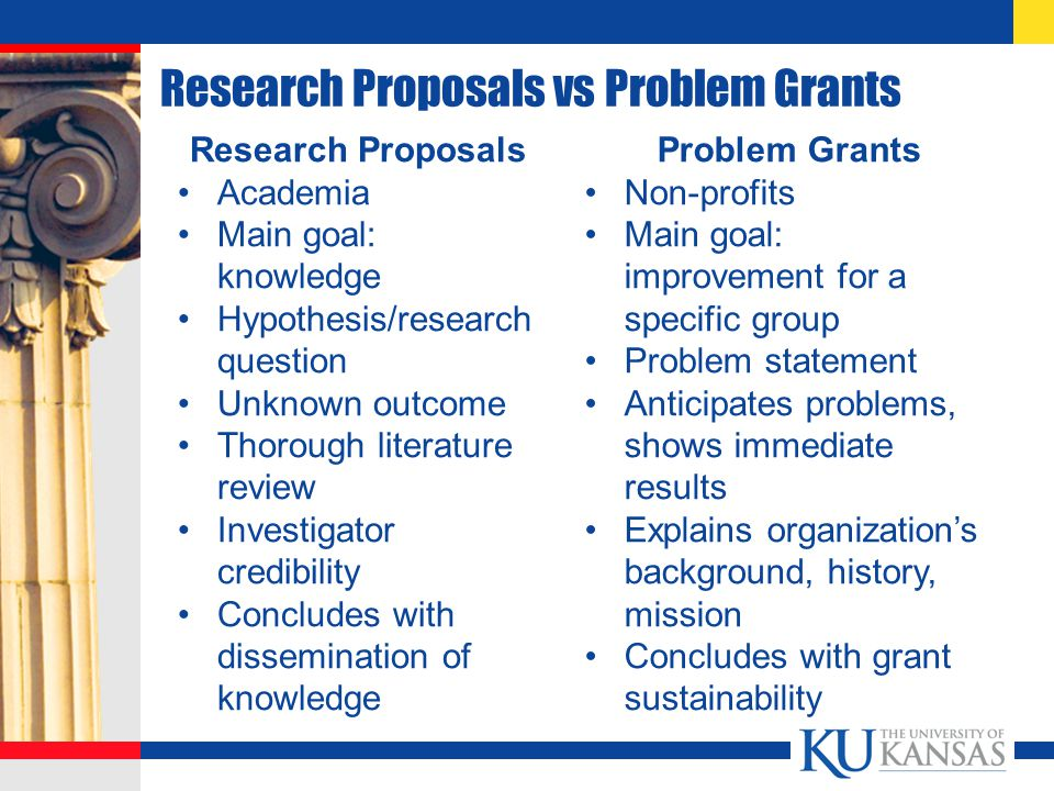 Research Proposals vs Problem Grants Research Proposals Academia Main goal: knowledge Hypothesis/research question Unknown outcome Thorough literature review Investigator credibility Concludes with dissemination of knowledge Problem Grants Non-profits Main goal: improvement for a specific group Problem statement Anticipates problems, shows immediate results Explains organization's background, history, mission Concludes with grant sustainability