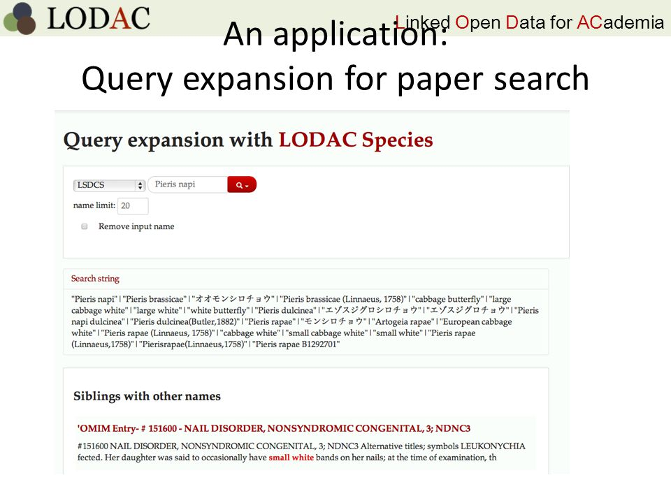 Linked Open Data for ACademia An application: Query expansion for paper search
