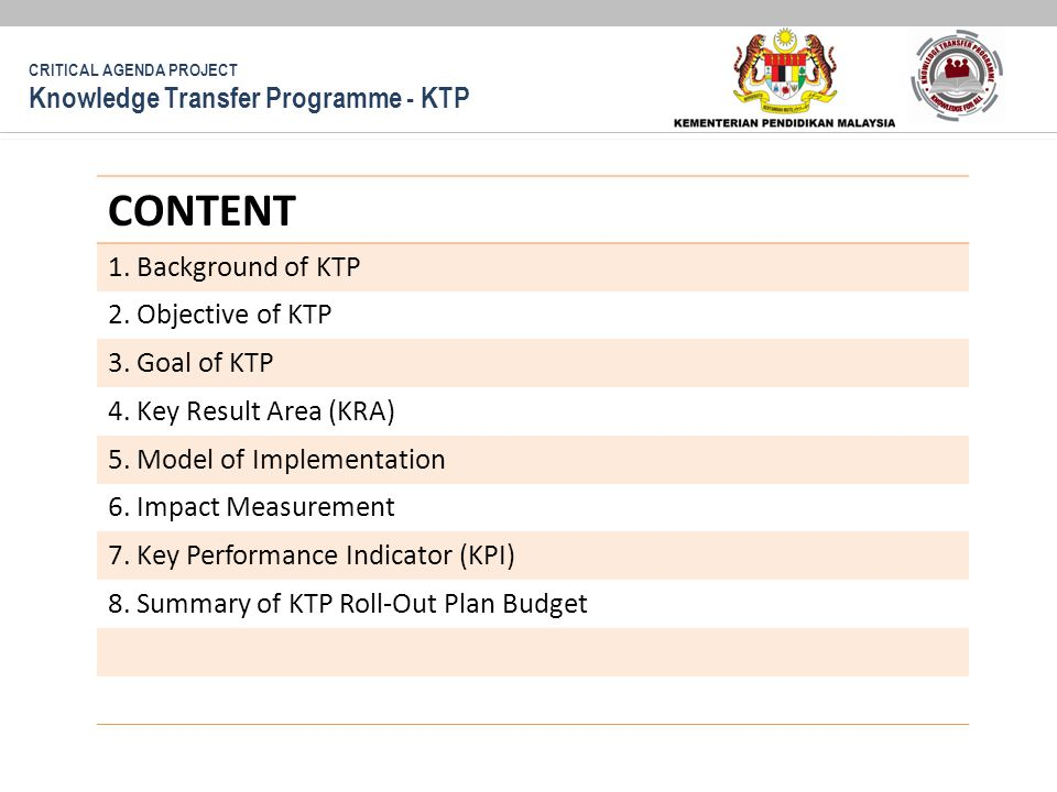 CONTENT 1. Background of KTP 2. Objective of KTP 3.