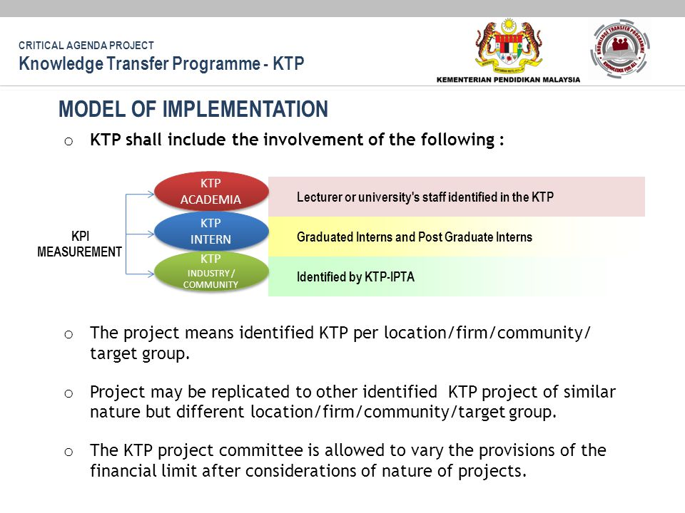 KPI MEASUREMENT o KTP shall include the involvement of the following : o The project means identified KTP per location/firm/community/ target group.