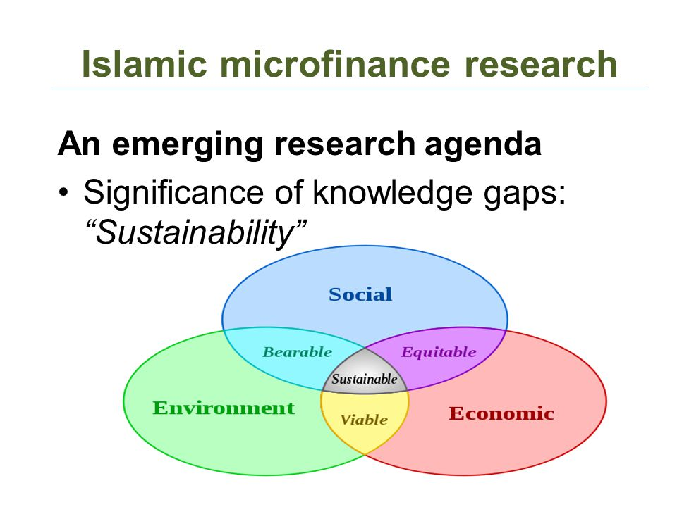 Islamic microfinance research An emerging research agenda Significance of knowledge gaps: Sustainability