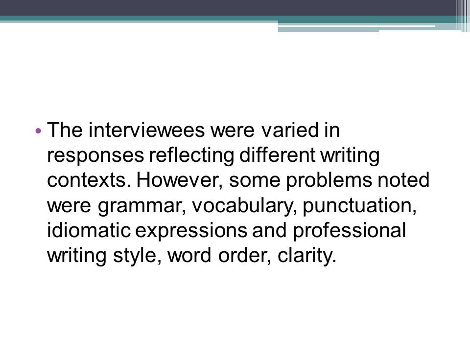 The interviewees were varied in responses reflecting different writing contexts.