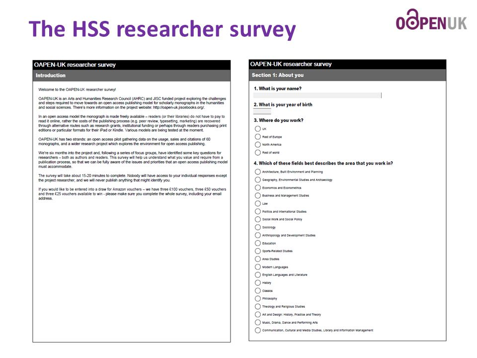 The HSS researcher survey