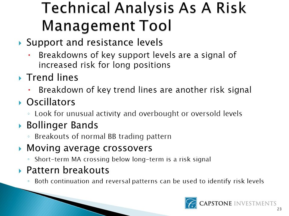  Support and resistance levels  Breakdowns of key support levels are a signal of increased risk for long positions  Trend lines  Breakdown of key trend lines are another risk signal  Oscillators ◦ Look for unusual activity and overbought or oversold levels  Bollinger Bands ◦ Breakouts of normal BB trading pattern  Moving average crossovers ◦ Short-term MA crossing below long-term is a risk signal  Pattern breakouts ◦ Both continuation and reversal patterns can be used to identify risk levels 23