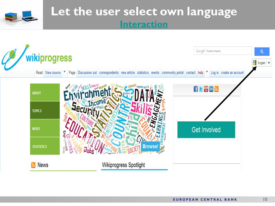 10 Let the user select own language Interaction