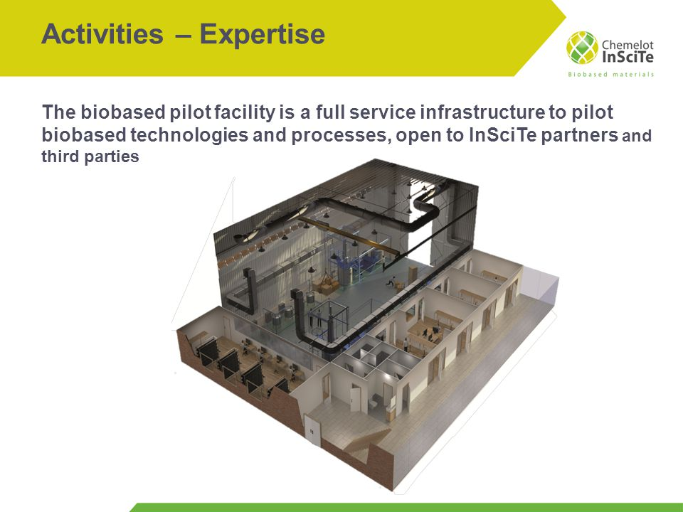 Activities – Expertise The biobased pilot facility is a full service infrastructure to pilot biobased technologies and processes, open to InSciTe part