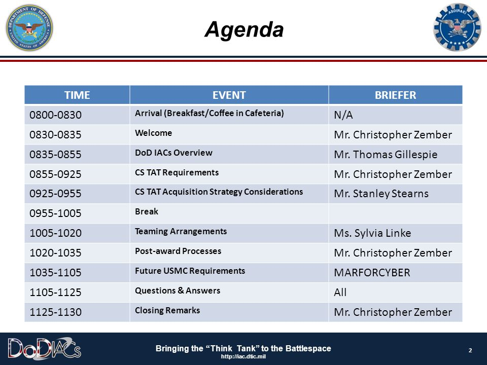 """Bringing the """"Think Tank"""" to the Battlespace http://iac.dtic.mil Agenda 2 TIMEEVENTBRIEFER 0800-0830 Arrival (Breakfast/Coffee in Cafeteria) N/A 0830-"""