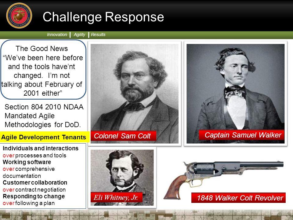 "Innovation Agility Results Colonel Sam Colt Captain Samuel Walker Eli Whitney, Jr. 1848 Walker Colt Revolver Challenge Response The Good News ""We've b"