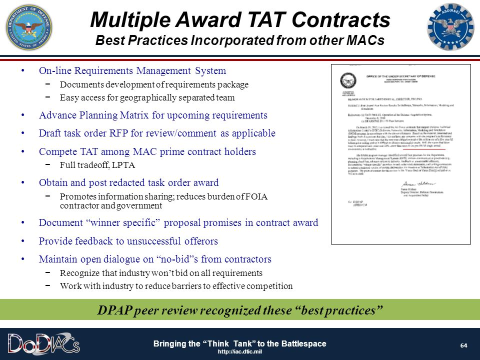 """Bringing the """"Think Tank"""" to the Battlespace http://iac.dtic.mil On-line Requirements Management System − Documents development of requirements packag"""
