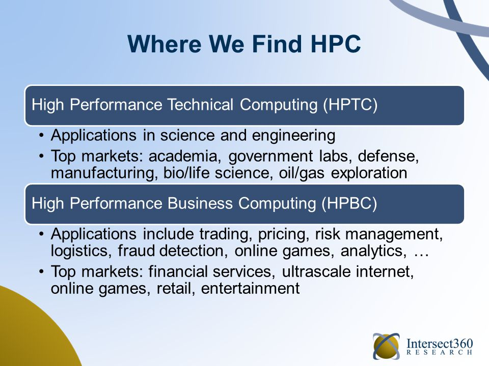 HPTC and HPBC Vertical Markets Financial services and manufacturing (auto/aero plus consumer) are about equal Worldwide, private sector is growing faster than public sector 2013 data available to clients Financial services and manufacturing (auto/aero plus consumer) are about equal Worldwide, private sector is growing faster than public sector 2013 data available to clients HPTC Total Market (2012 rev., 70%) by VerticalHPBC Total Market (2012 rev., 30%) by Vertical 24% Acad.41% Comm.