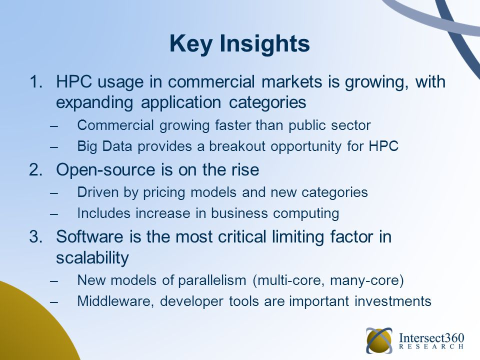 Key Insights 1.HPC usage in commercial markets is growing, with expanding application categories –Commercial growing faster than public sector –Big Da