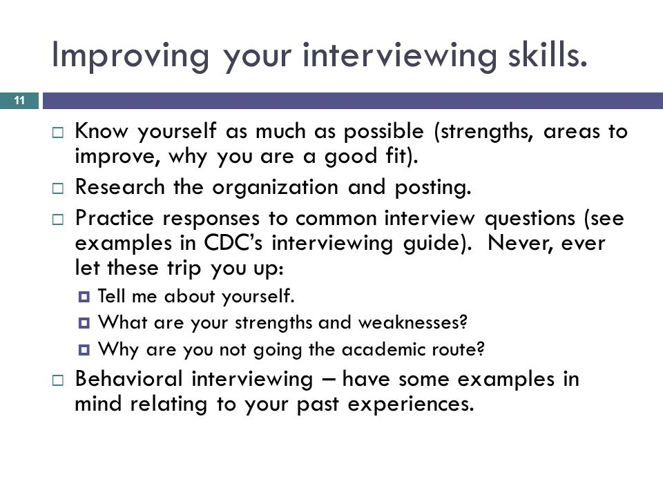 Improving your interviewing skills.