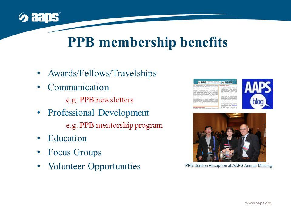 PPB membership benefits Awards/Fellows/Travelships Communication e.g.