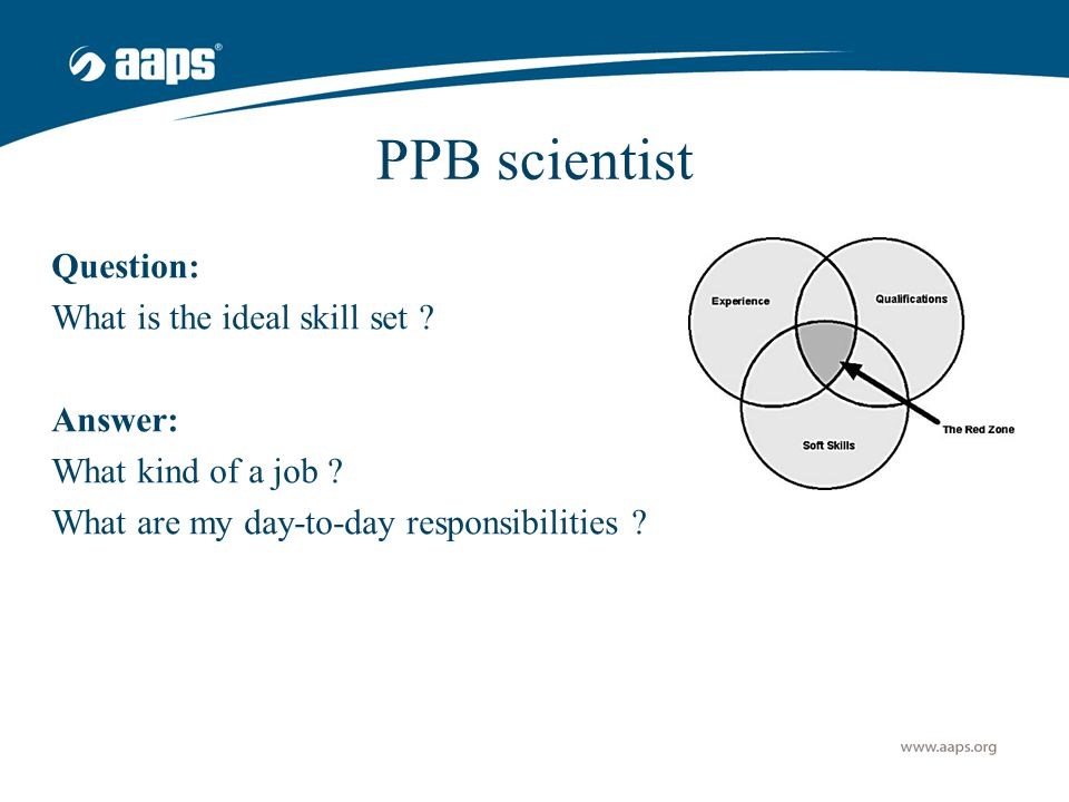 PPB scientist Question: What is the ideal skill set ? Answer: What kind of a job ? What are my day-to-day responsibilities ?