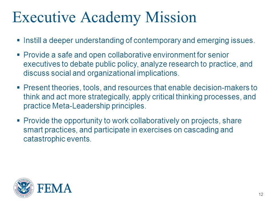 Presenter's Name/Title April 29, 2014 EMI Executive Academy Mission  Instill a deeper understanding of contemporary and emerging issues.