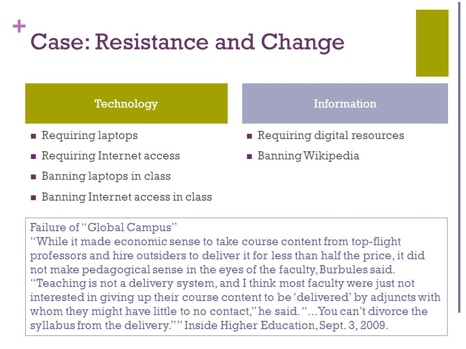+ Case: Resistance and Change Requiring laptops Requiring Internet access Banning laptops in class Banning Internet access in class Requiring digital resources Banning Wikipedia TechnologyInformation Failure of Global Campus While it made economic sense to take course content from top-flight professors and hire outsiders to deliver it for less than half the price, it did not make pedagogical sense in the eyes of the faculty, Burbules said.