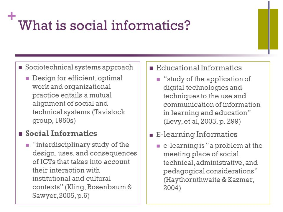 + What is social informatics.