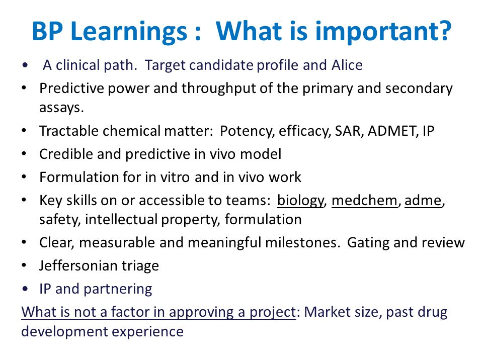 BP Learnings : What is important. A clinical path.