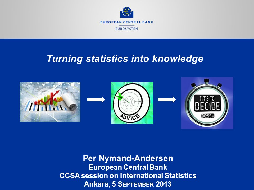 Turning statistics into knowledge Per Nymand-Andersen European Central Bank CCSA session on International Statistics Ankara, 5 S EPTEMBER 2013