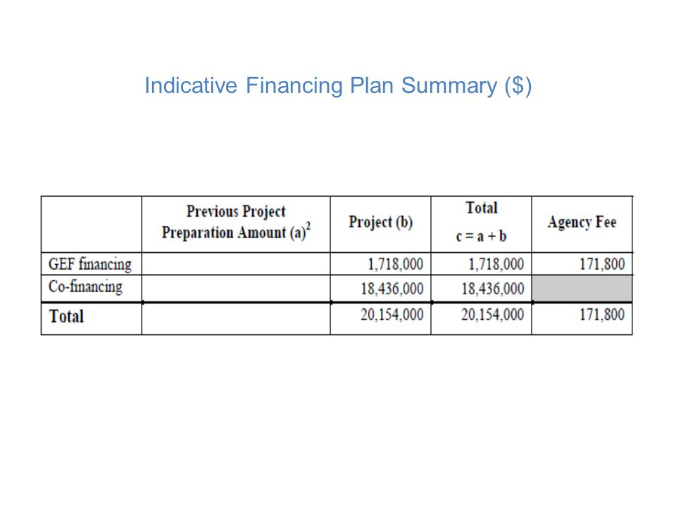 Indicative Financing Plan Summary ($)