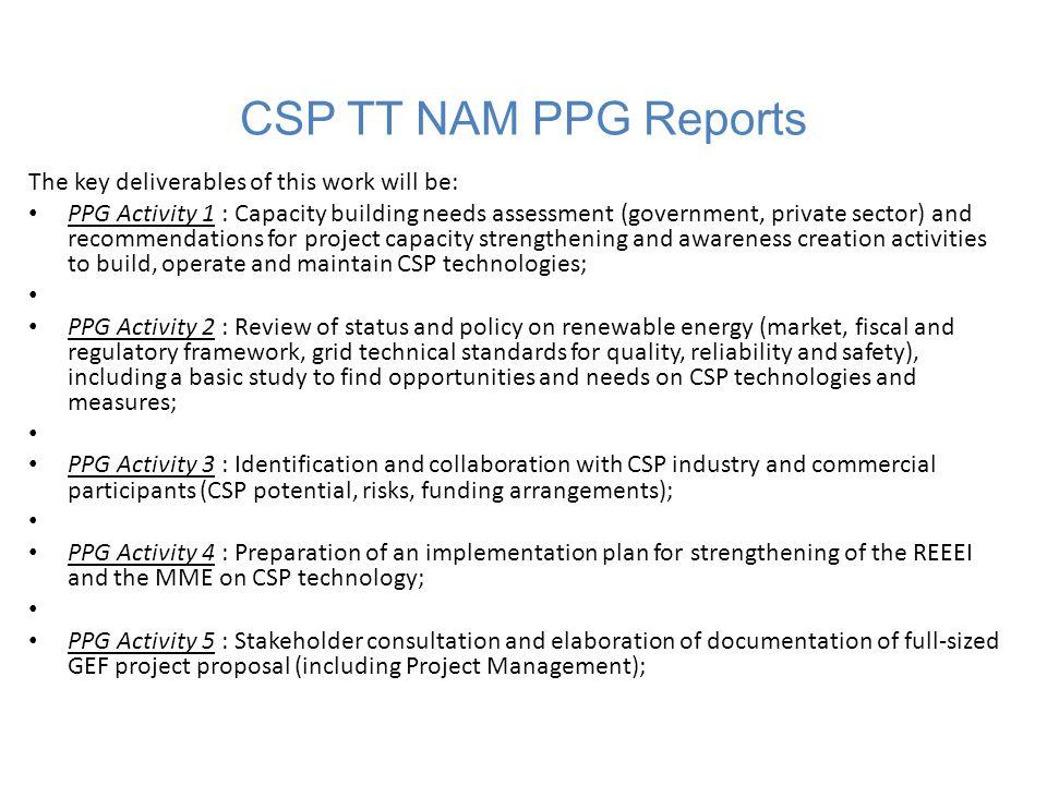 CSP TT NAM Project Deliverable Timeline