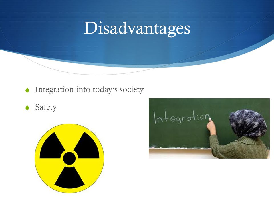 Disadvantages  Integration into today's society  Safety