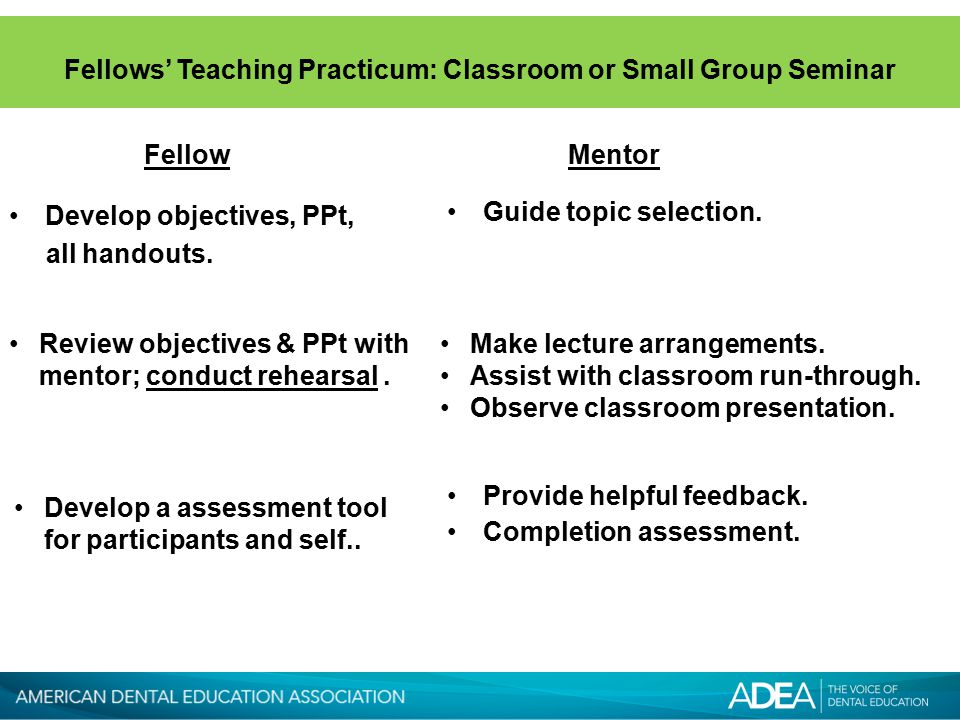 Fellows' Teaching Practicum: Classroom or Small Group Seminar Guide topic selection.