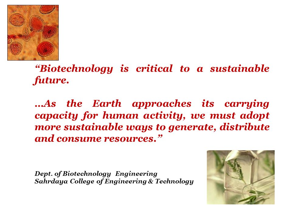 Biotechnology is critical to a sustainable future.
