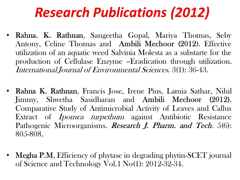 Research Publications (2012) Rahna. K.