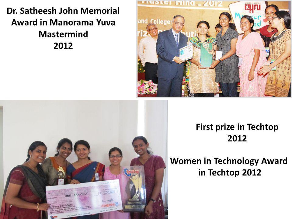 Dr. Satheesh John Memorial Award in Manorama Yuva Mastermind 2012 First prize in Techtop 2012 Women in Technology Award in Techtop 2012