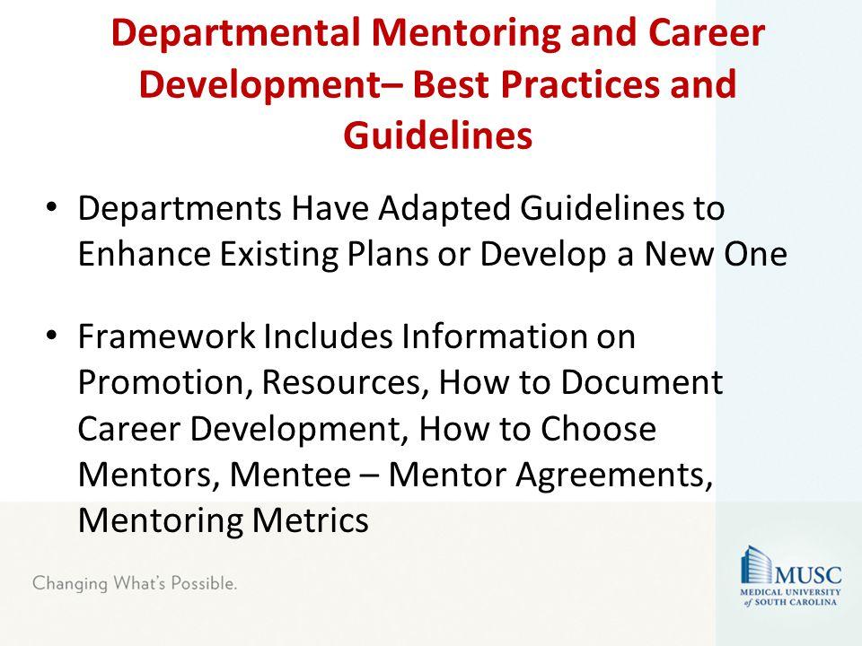 Progress with Departmental Mentoring Plans Each dept.