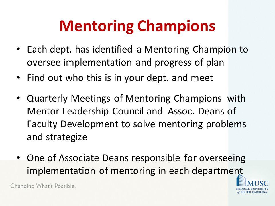 Mentoring Champions Each dept.