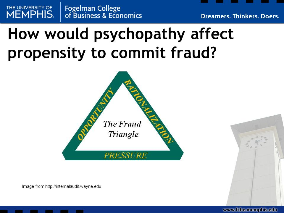 How would psychopathy affect propensity to commit fraud Image from http://internalaudit.wayne.edu