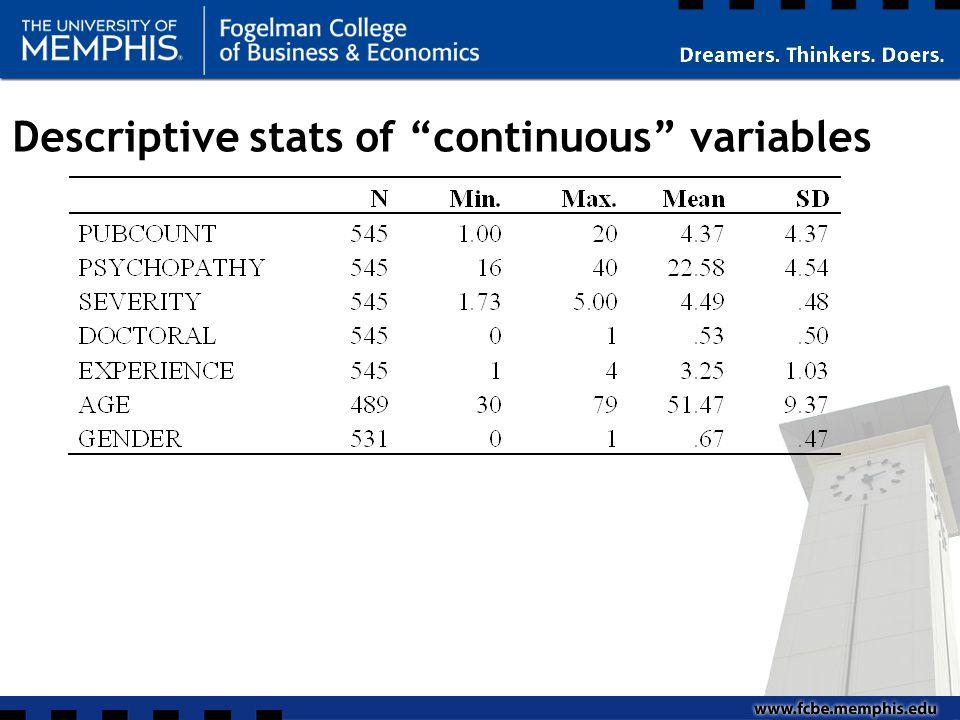 "Descriptive stats of ""continuous"" variables"