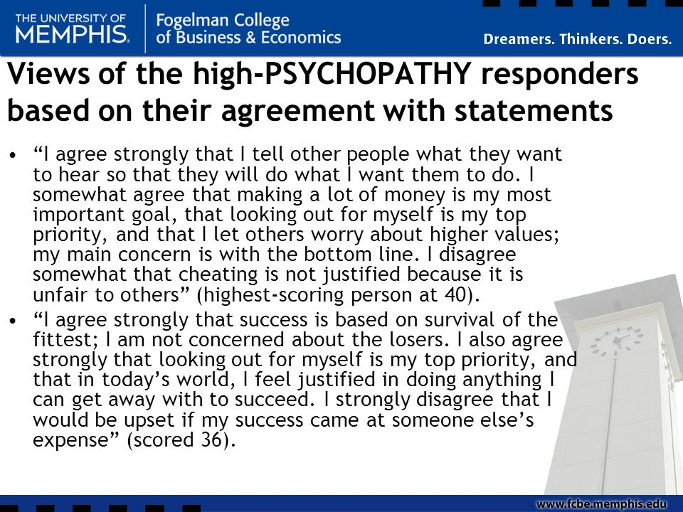 Views of the high-PSYCHOPATHY responders based on their agreement with statements I agree strongly that I tell other people what they want to hear so that they will do what I want them to do.
