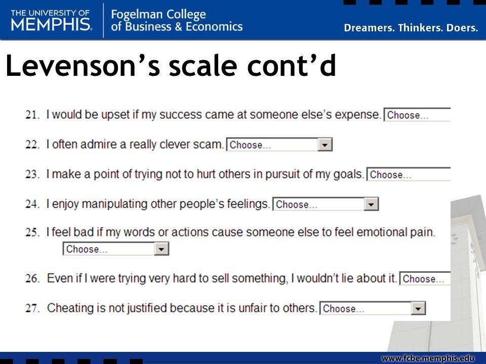Levenson's scale cont'd