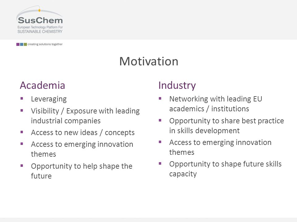 Motivation Academia  Leveraging  Visibility / Exposure with leading industrial companies  Access to new ideas / concepts  Access to emerging innov
